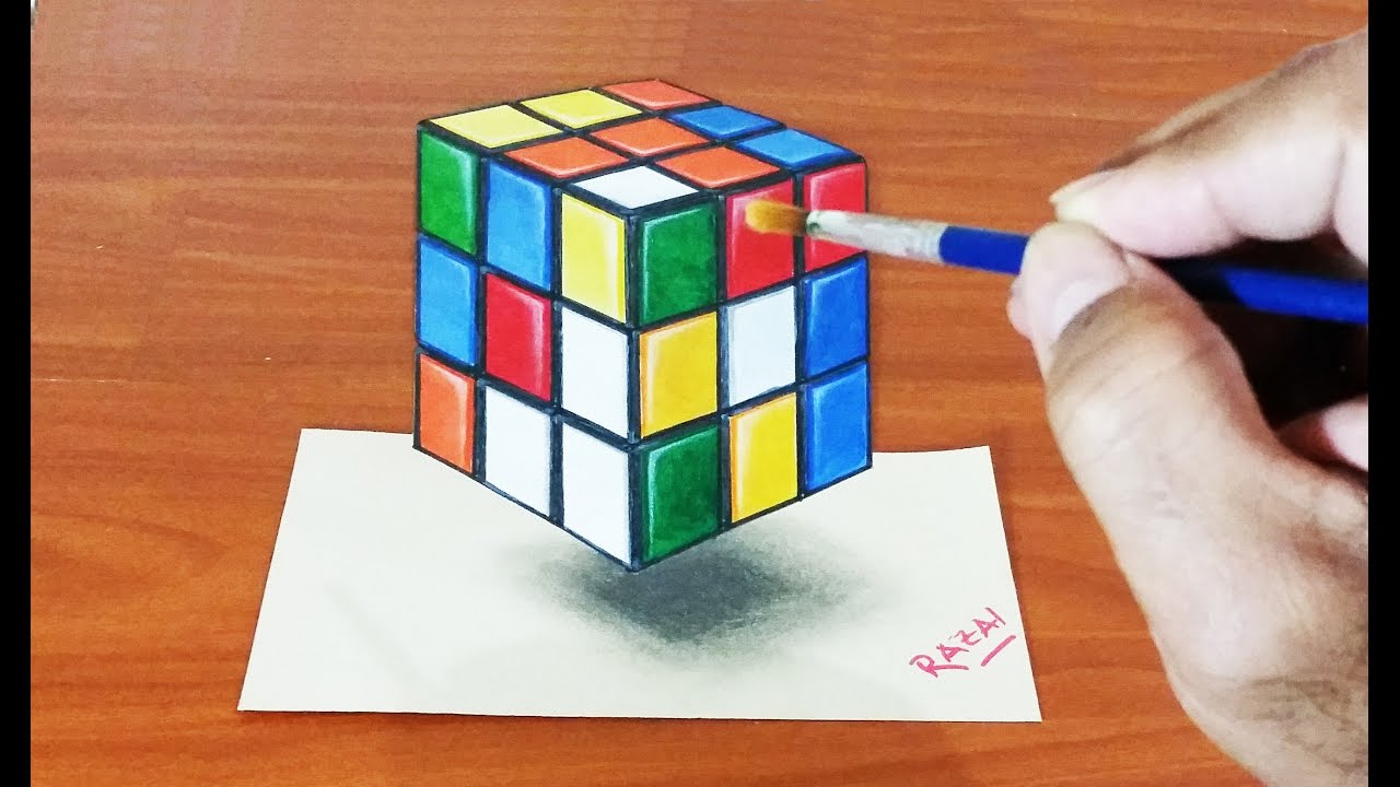graphic regarding Anamorphic Illusions Printable identify Rubiks Dice Drawing at  Cost-free for unique