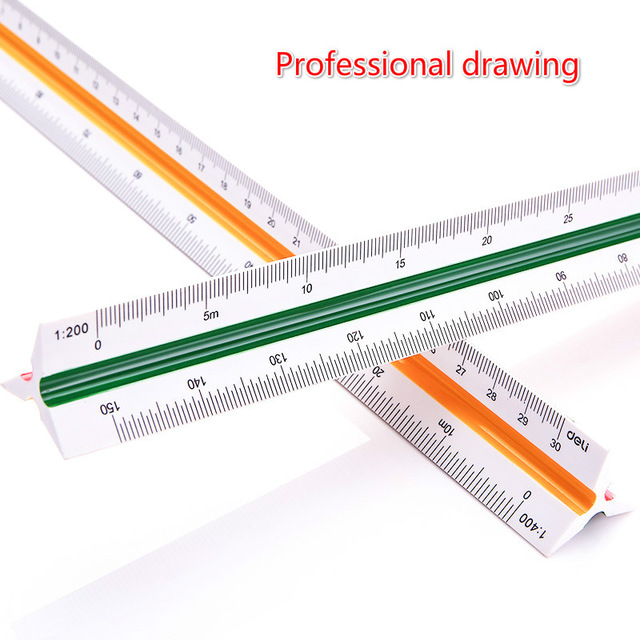 640x640 Deli 8930 Tri Scale Ruler Multifunctional Drawing Scale Ruler