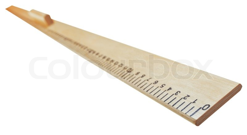 800x439 Drawing Wooden Meter Ruler Isolated On White Background Stock