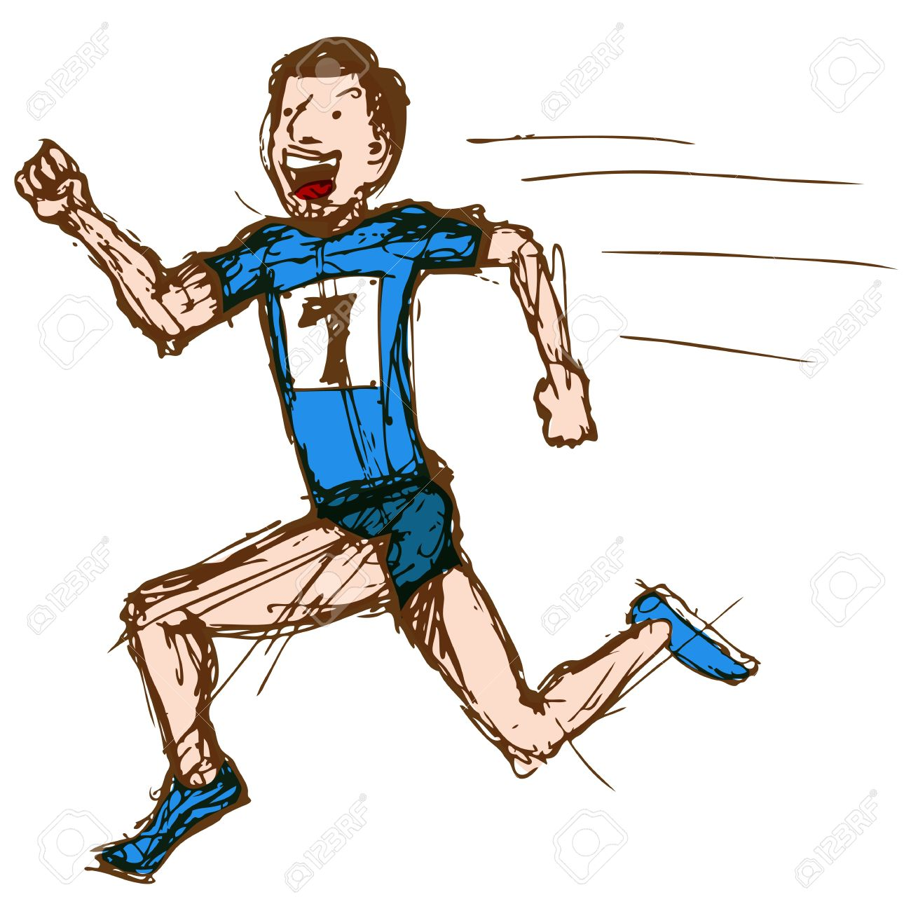 1300x1300 An Image Of Sketch Drawing Of A Male Runner. Royalty Free Cliparts
