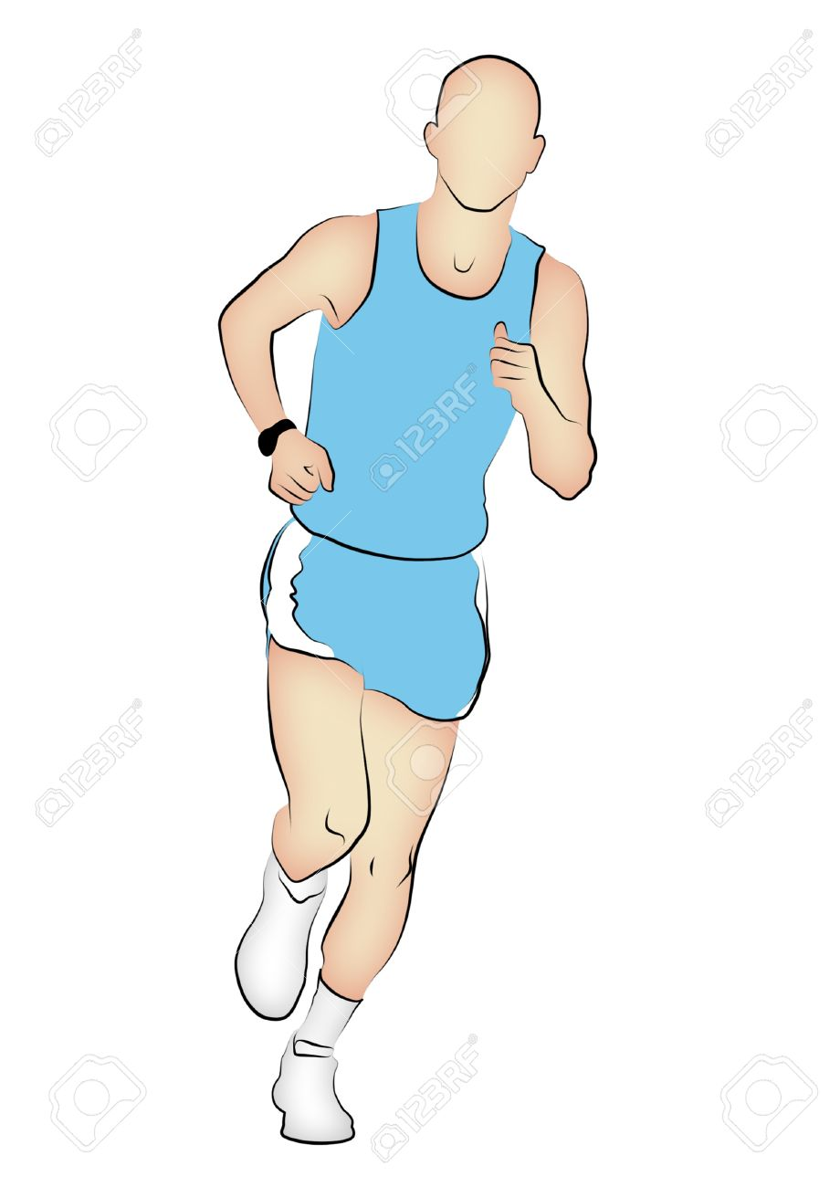 920x1300 Line Drawing Of A Marathon Runner. Stock Photo, Picture
