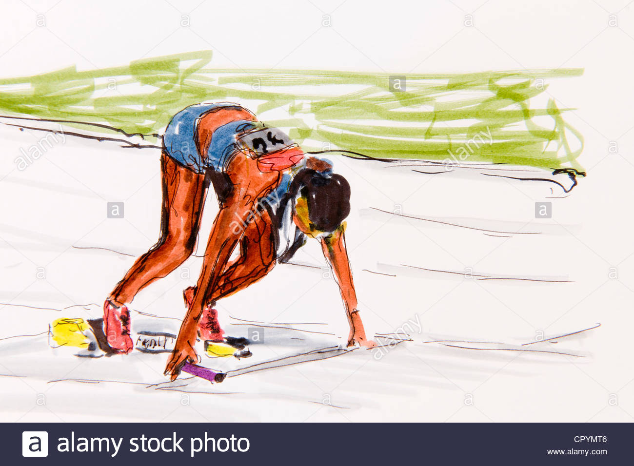 1300x956 Start Of A Female Runner, Track And Field Athletics, Drawing By