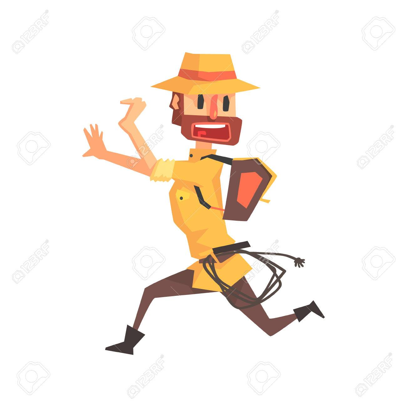 1300x1300 Adventurer Archeologist In Outfit And Hat Running Away