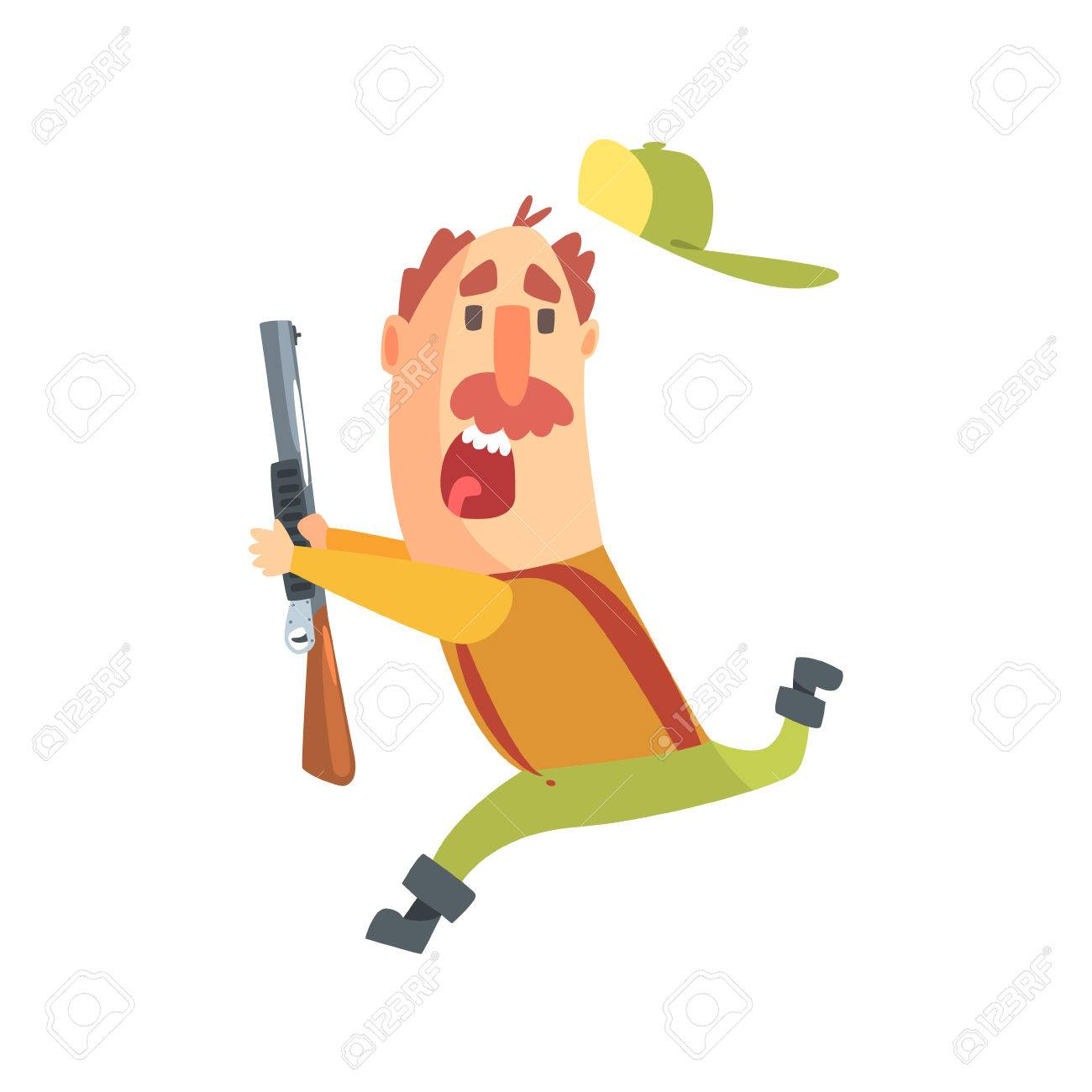 1300x1300 Funny Childish Hunter Character With Moustache Running Away Scared