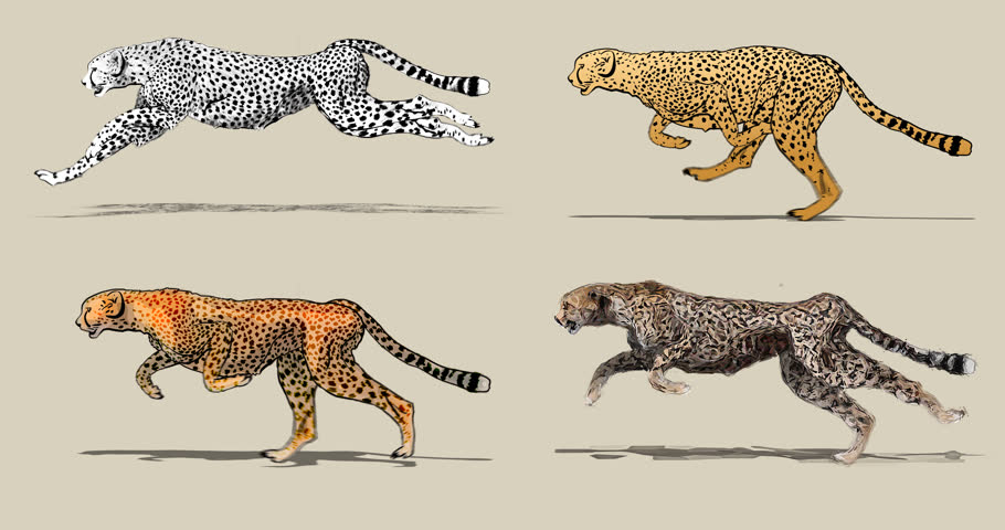 910x480 Cartoon Cheetah Running. Four Different Drawing Style Pencil