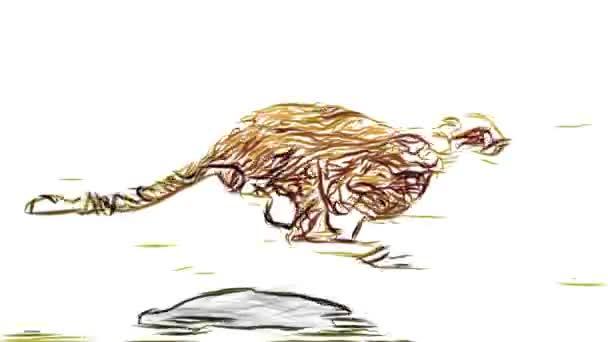 608x342 Cheetah Running Pencil Draw Cartoon Animation Seamless Endless