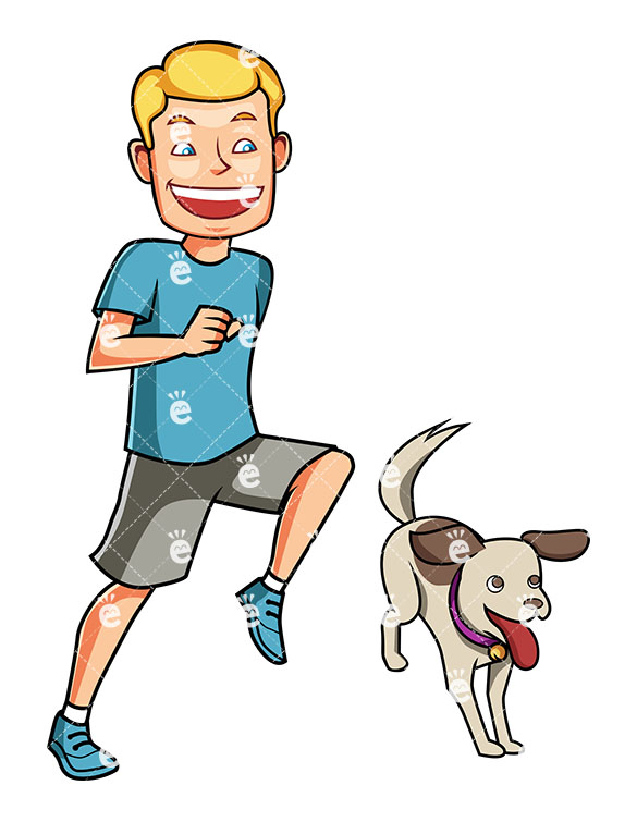 585x755 An Energetic Man Running With His Dog