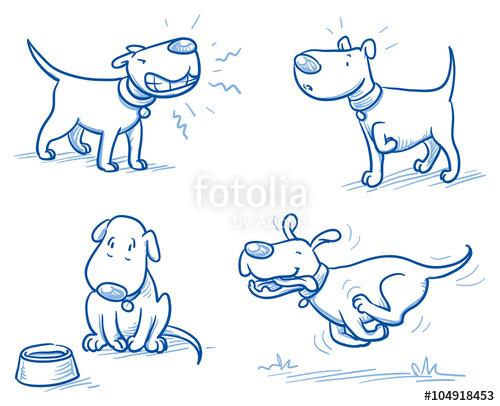 500x406 Cute Cartoon Dog Set. Snarling, Running, Alert, Hungry. Hand Drawn