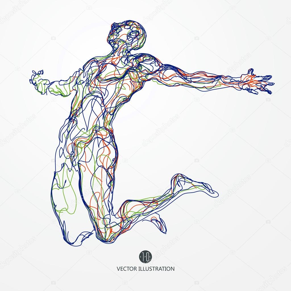 1024x1024 Running Man, Colored Lines Drawing, Vector Illustration. Stock