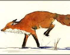 236x187 Red Fox Jumping Snow Forest Original Art Watercolor Animal