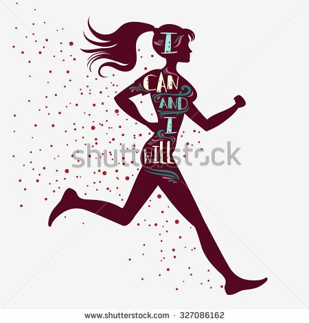 450x470 SportFitness Typographic Poster Running Girl I Can And Will