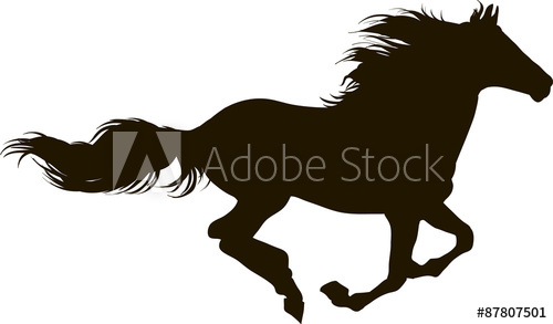 500x293 Drawing The Silhouette Of Running Horse