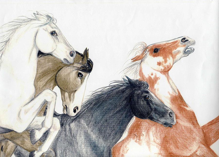 900x648 Running Horses Drawing By Anita Will