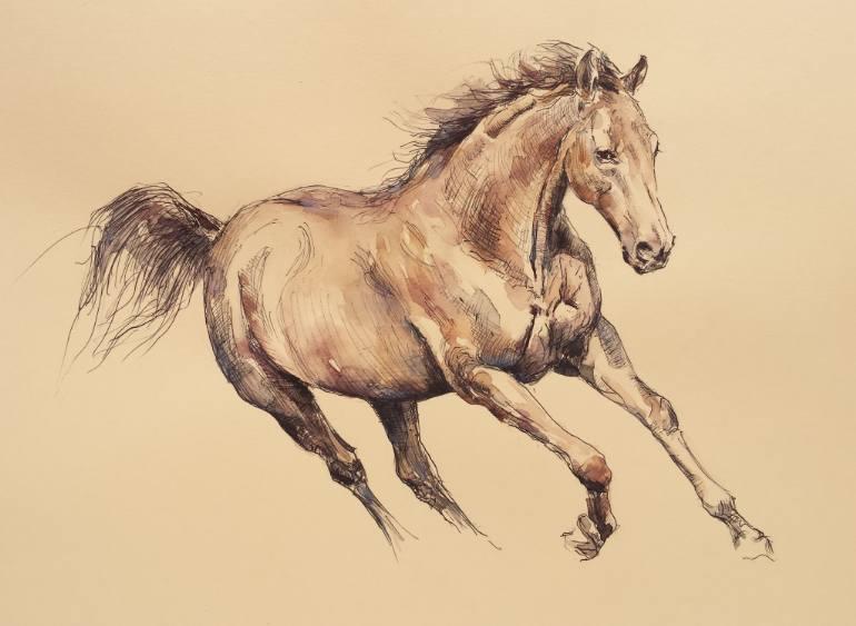 770x563 Saatchi Art Running Horse Drawing By Georgi Todorov