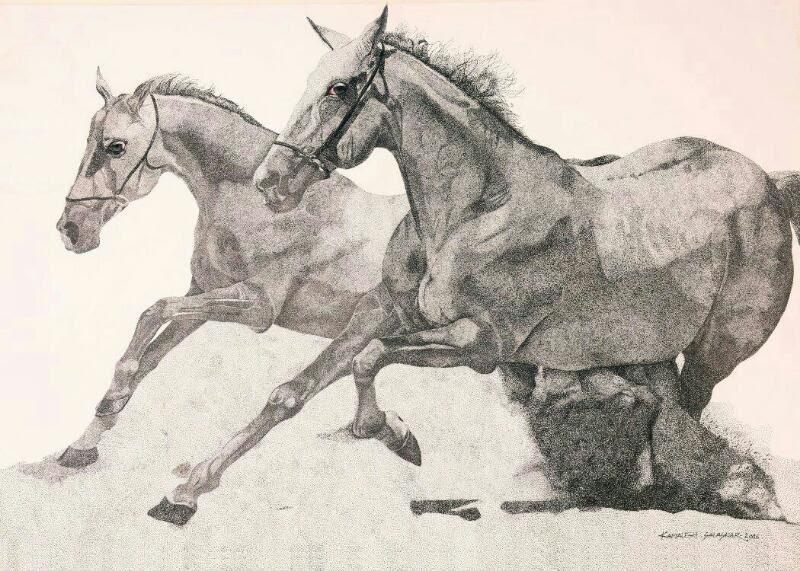 800x571 Two Running Horses By Artist Kamalesh Salaskar Ink Drawings On Paper
