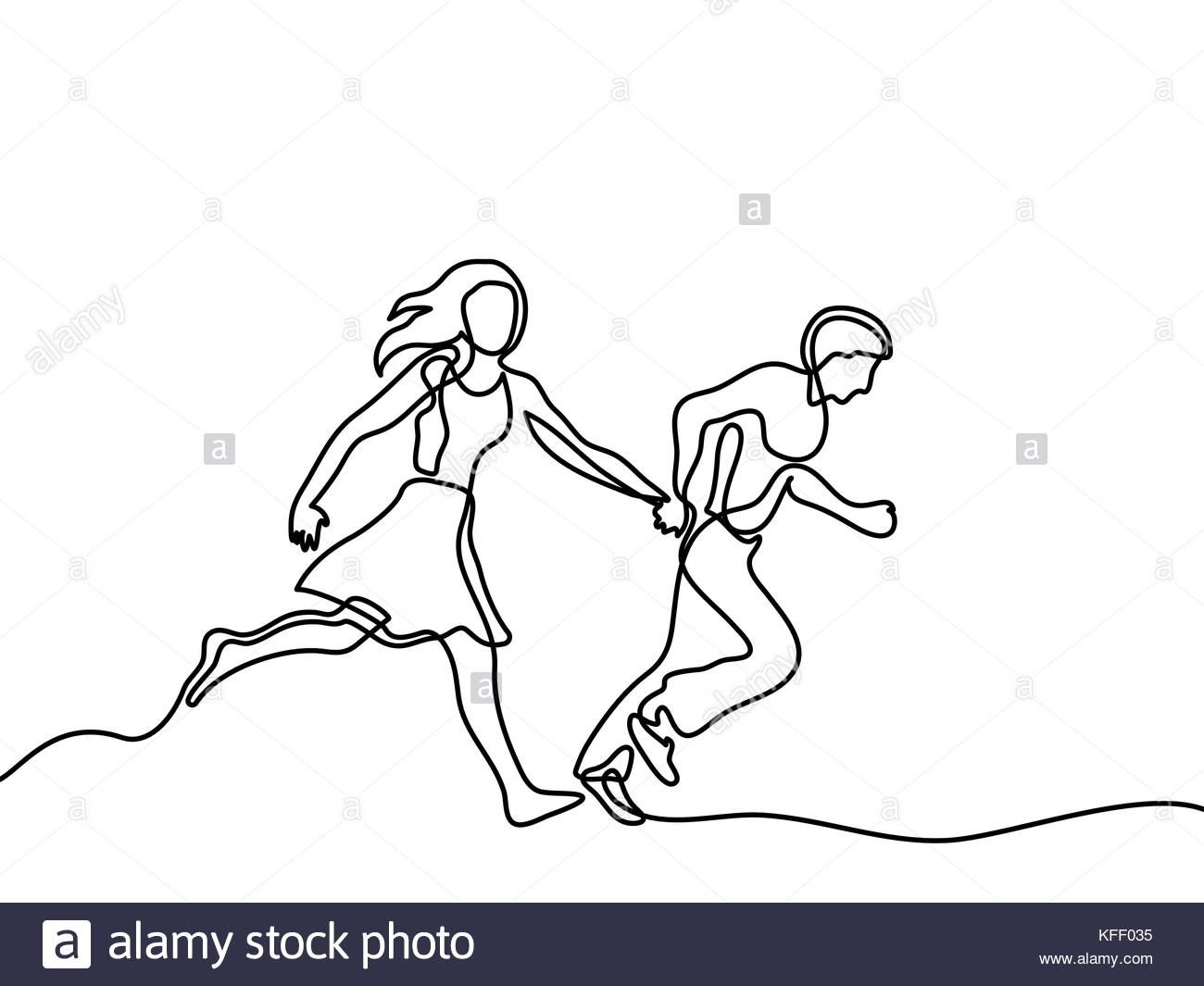 1300x1065 Happy Running Couple. Continuous Line Drawing. Vector Illustration