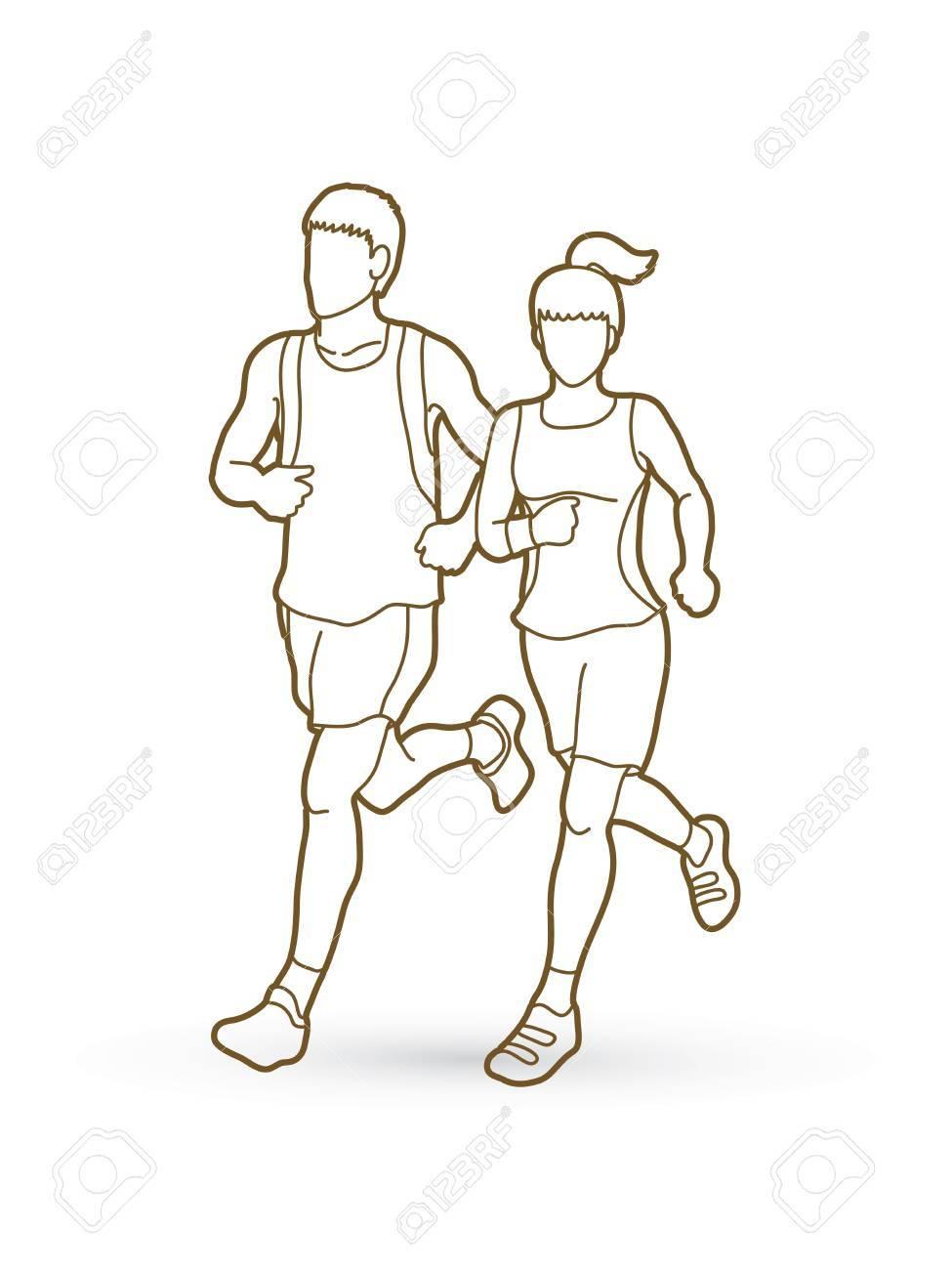 975x1300 Man And Woman Running Together, Marathon Runner Outline Stroke