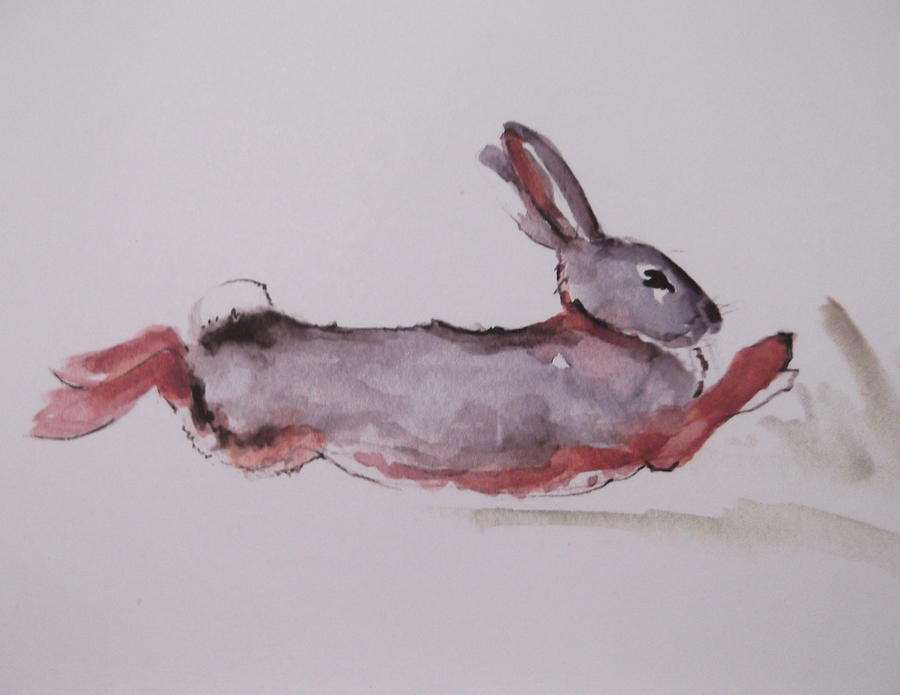 900x695 Running Rabbit Painting By Lisa Schorr