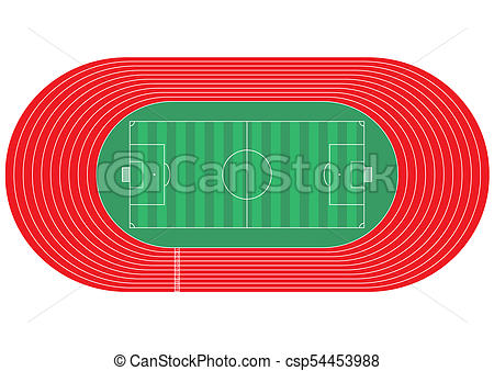 450x338 Top View Of Running Track And Soccer Field On White Stock