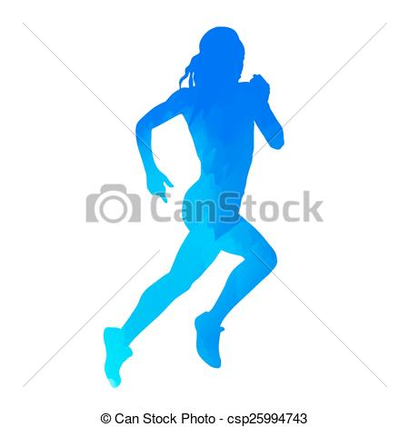 450x470 Abstract Blue Running Woman Eps Vector
