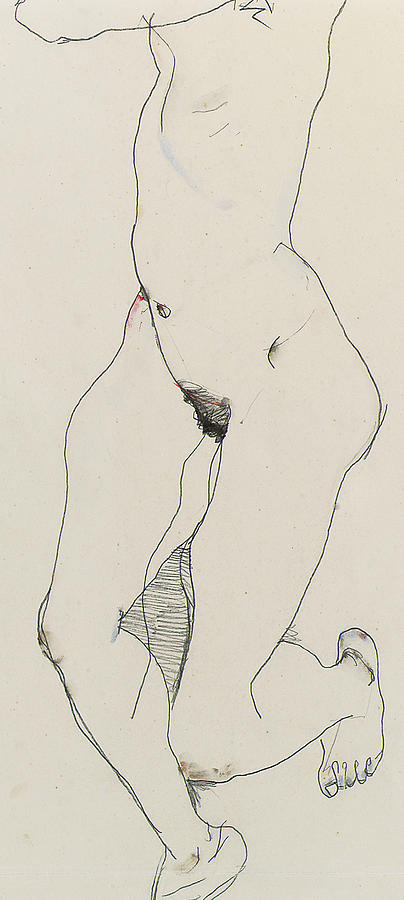 404x900 Running Woman Drawing By Egon Schiele