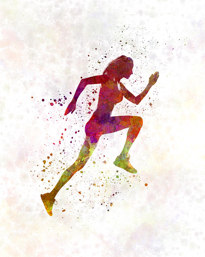 720x900 Woman Runner Running Jogger Jogging Silhouette 02 Painting By