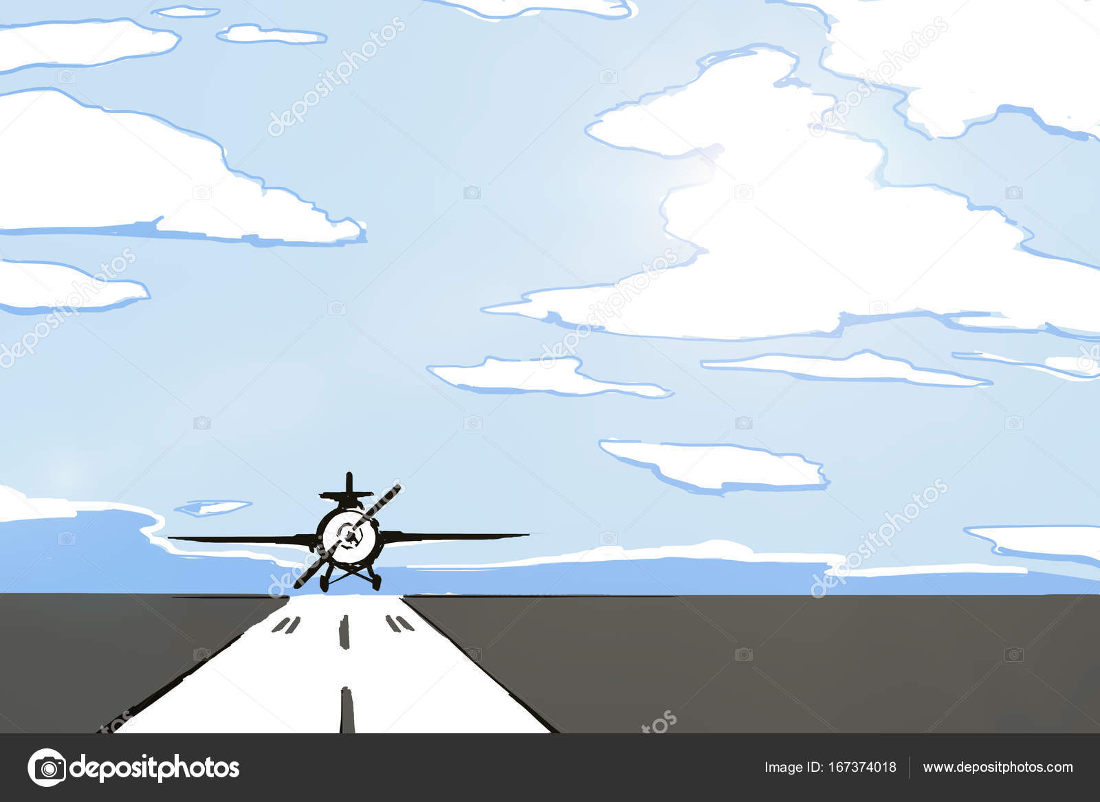 1600x1167 Airplane On Runway Drawing Stock Photo Peshkova