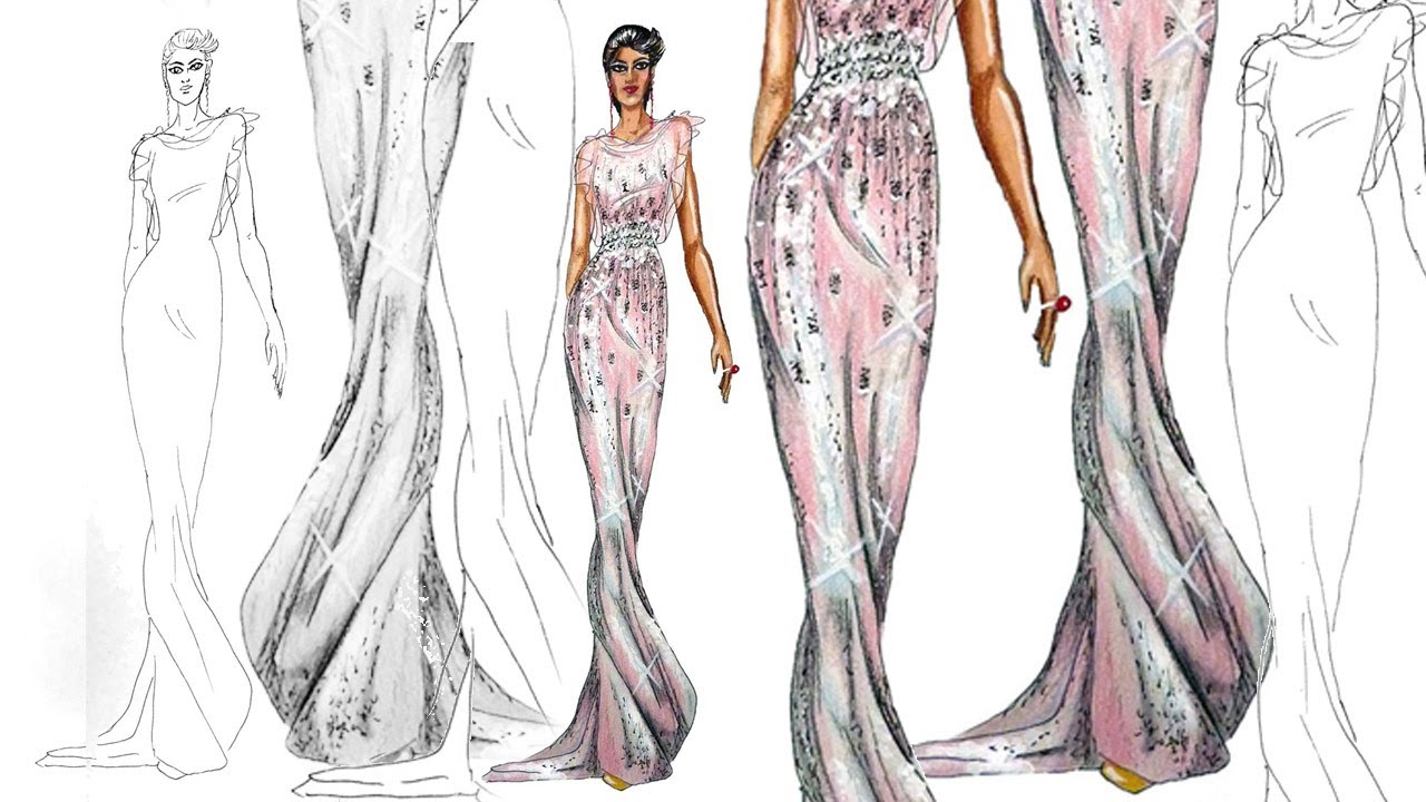 1280x720 On The Runway Catwalk Pose Fashion Illustration