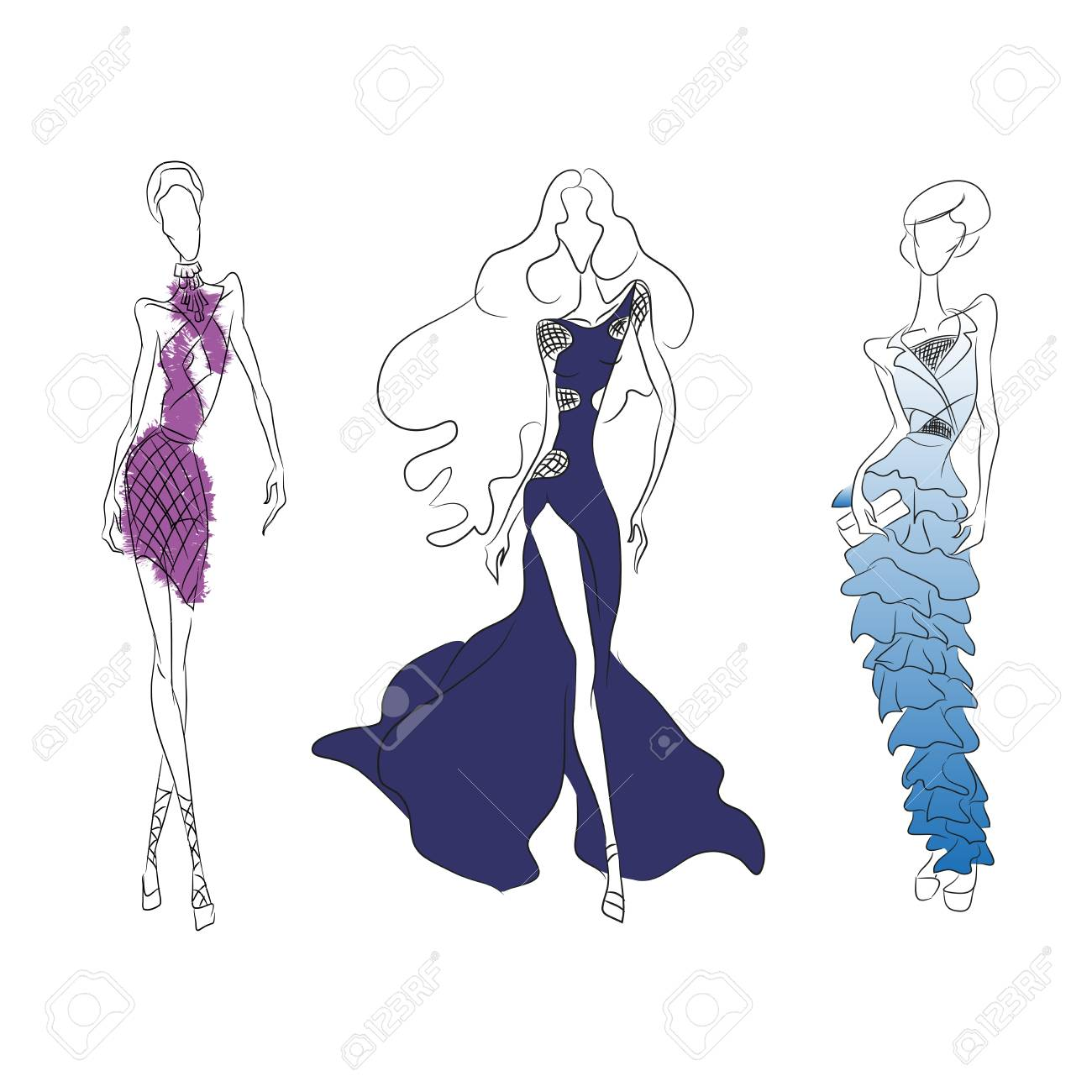 1300x1300 Vector Fashion Line Sketch. Set Of Vector Icons. Models Walking