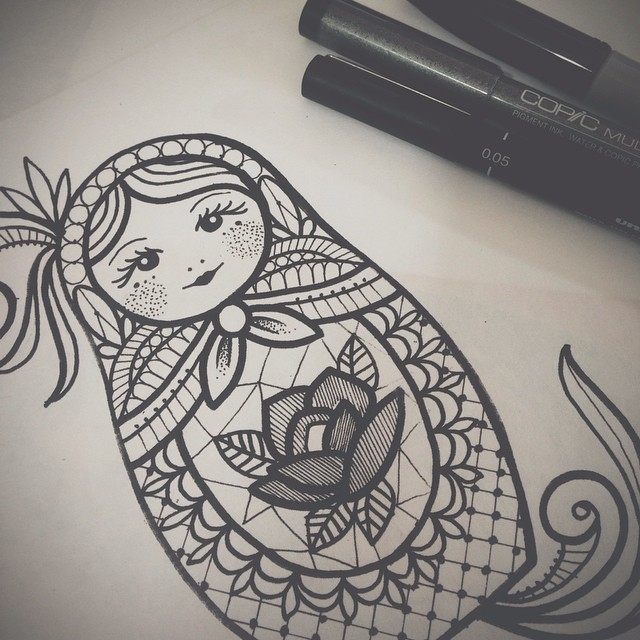 Russian Doll Drawing At GetDrawings.com   Free For ...