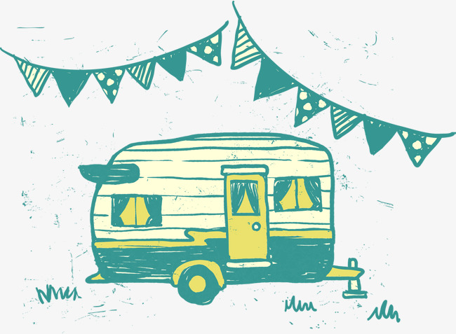 650x477 Cute Green House Hand Drawing Vector RV Camping PNG
