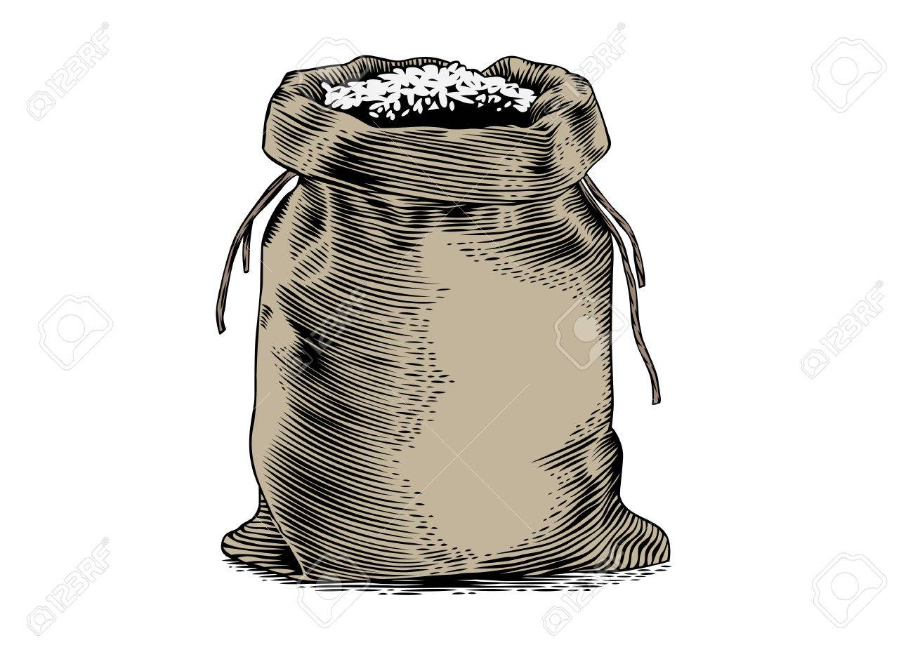 1300x919 Drawing Of The Sack With The Rice On The White Royalty Free