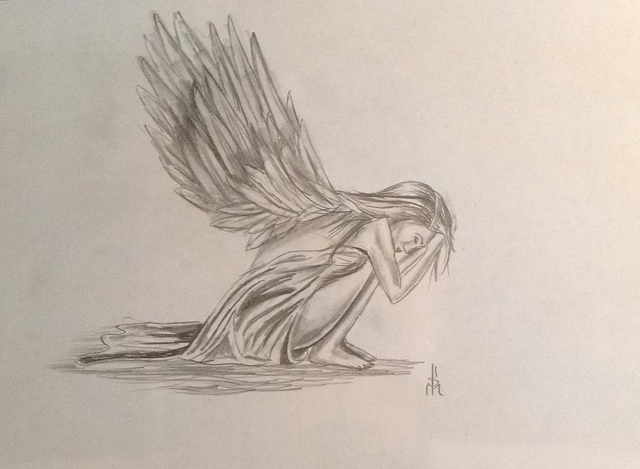 900x660 Broken Angel Drawing By Shelby Rawlusyk