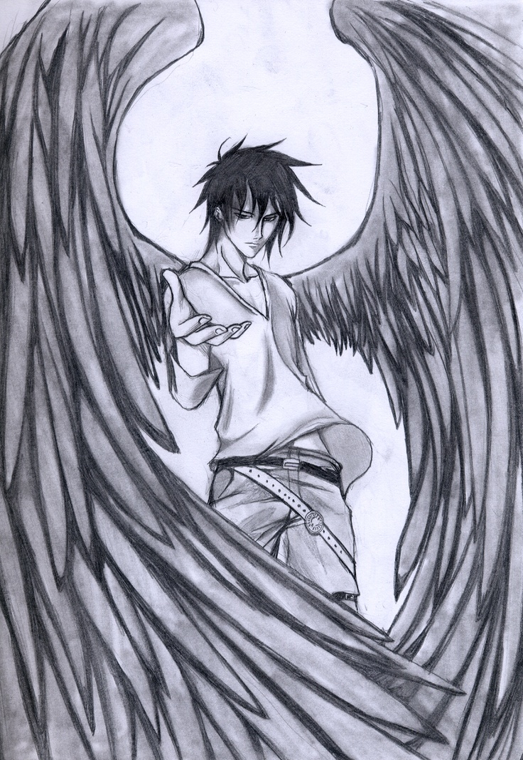 736x1069 Sad Angel Anime Drawings In Pencil Im Your Guardian Angelthey Are