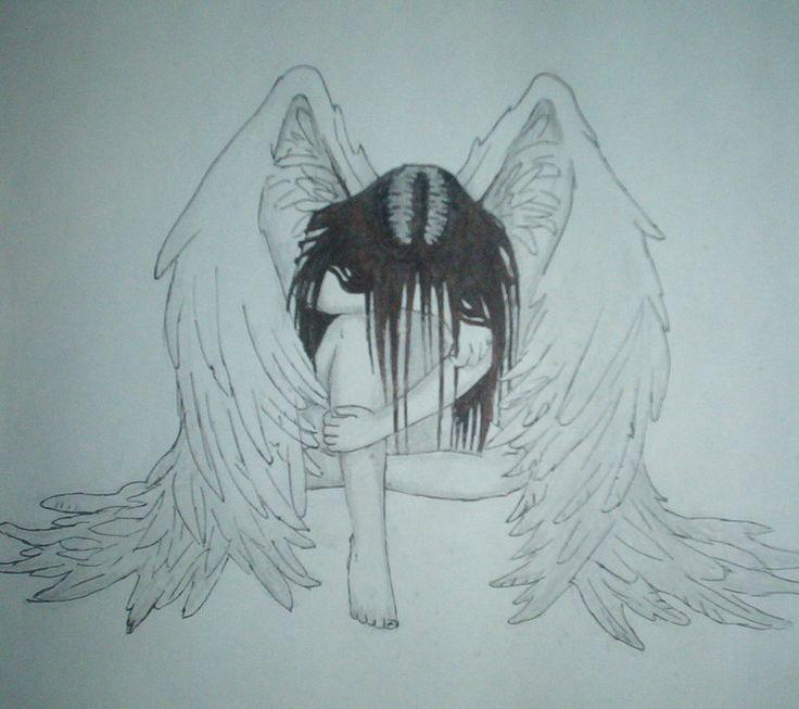 736x653 Sad Angel Drawing