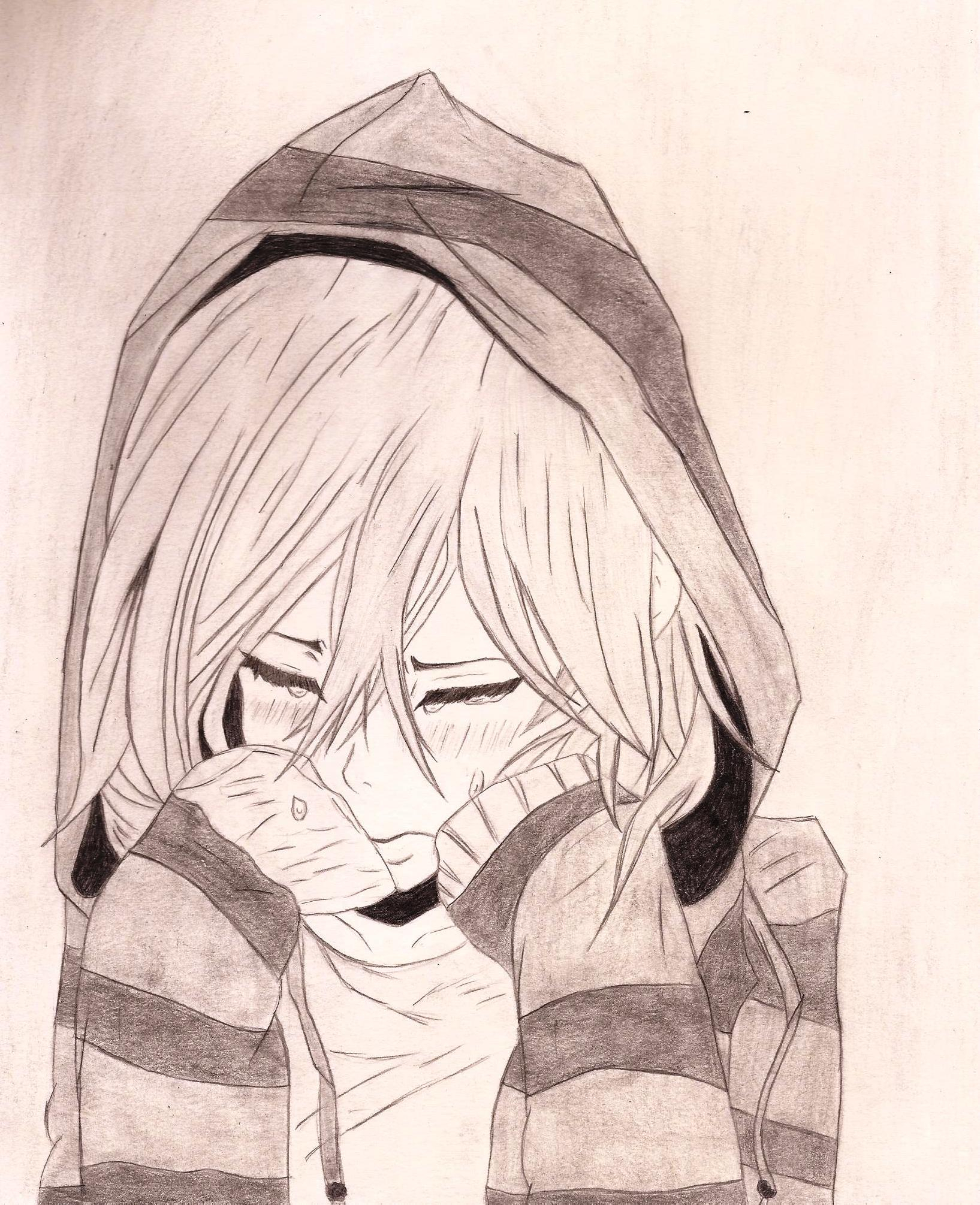Sad Anime Girl Drawing At Getdrawings Com Free For