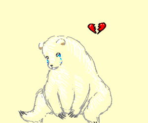 300x250 Sad Polar Bear (Drawing By Milkyway)