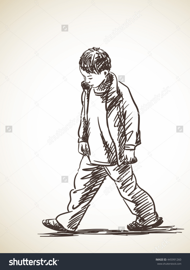 720x1024 Sketch Drawing Of A Sad Boy Sketch Sad Boy Walking Hand Drawn