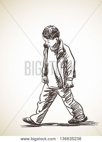 337x470 Sketch Sad Boy Walking, Hand Drawn Vector Amp Photo Bigstock