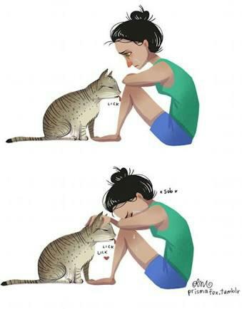 339x434 Cat, Drawing, Girl, Sad