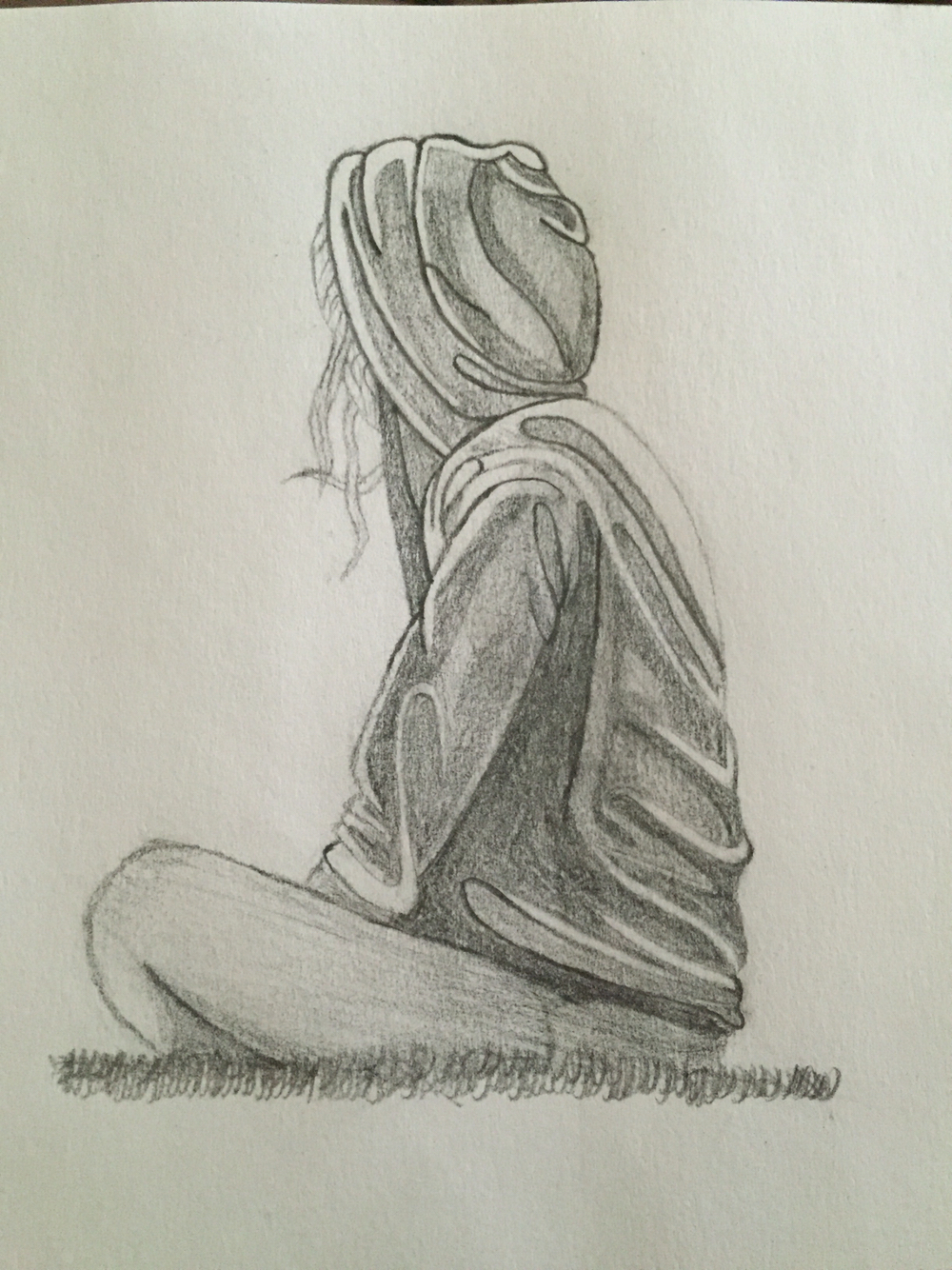 1000x1334 Alone Picture Sketch A Girl Crying In Bed Alone Drawing Pencil