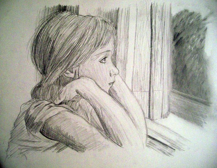 Pencil Sketches Of Alone Girl