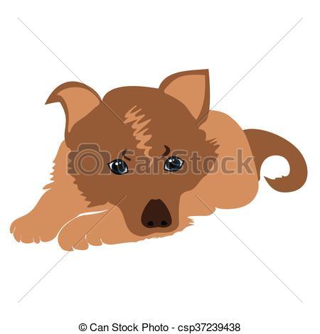 450x470 Cute Cartoon Puppy Lying Vector Illustration. Sad Puppy Vectors