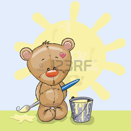 450x450 Cute Rabbit With Brush Is Drawing A Sun Royalty Free Cliparts