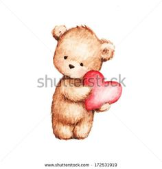 236x246 The Drawing Of Teddy Bear With Red Balloon And Flowers. Printable