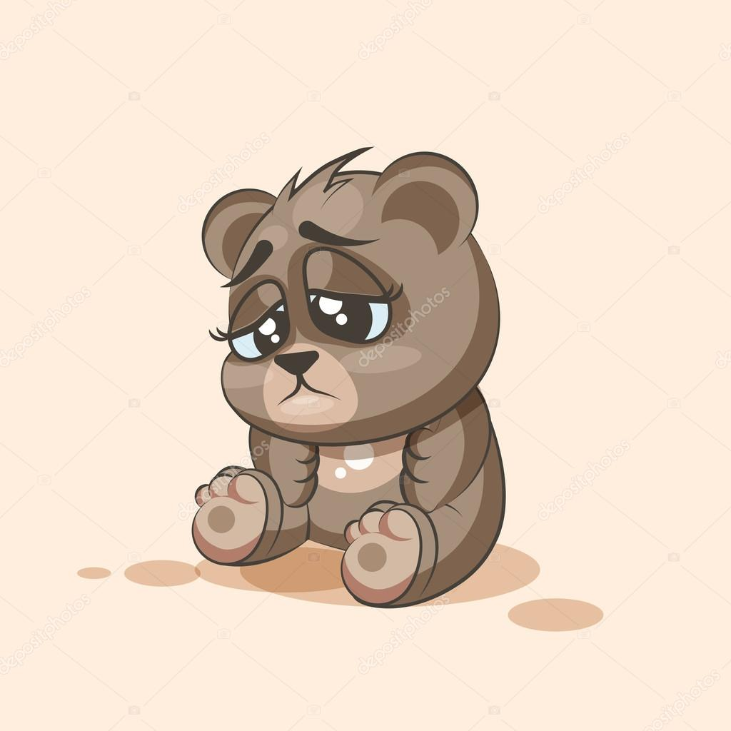 1024x1024 Isolated Emoji Character Cartoon Bear Sad And Frustrated Sticker