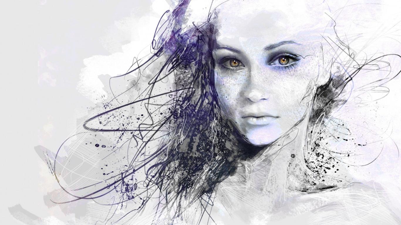 1366x768 Sketch Hd Picture Girl Woman Face Drawing Hd Wallpaper Sad Woman
