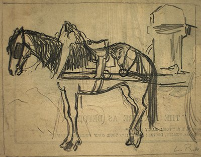 400x313 Horse And Saddle (Charcoal On Paper. Horse And Saddle.)