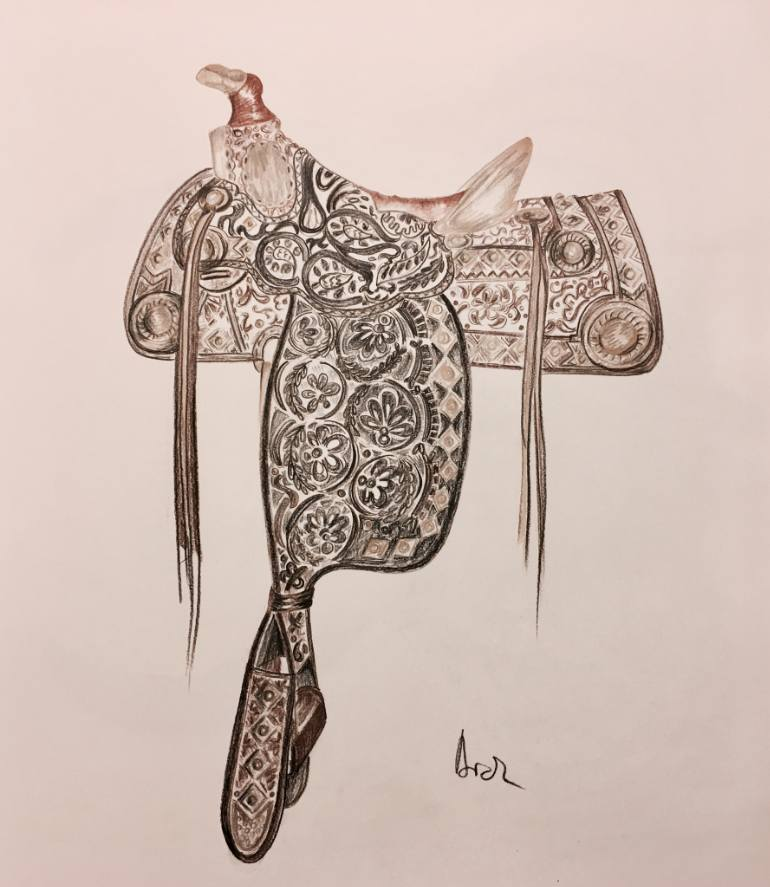 770x887 Saatchi Art Saddle Drawing By Aida Novosel Savic