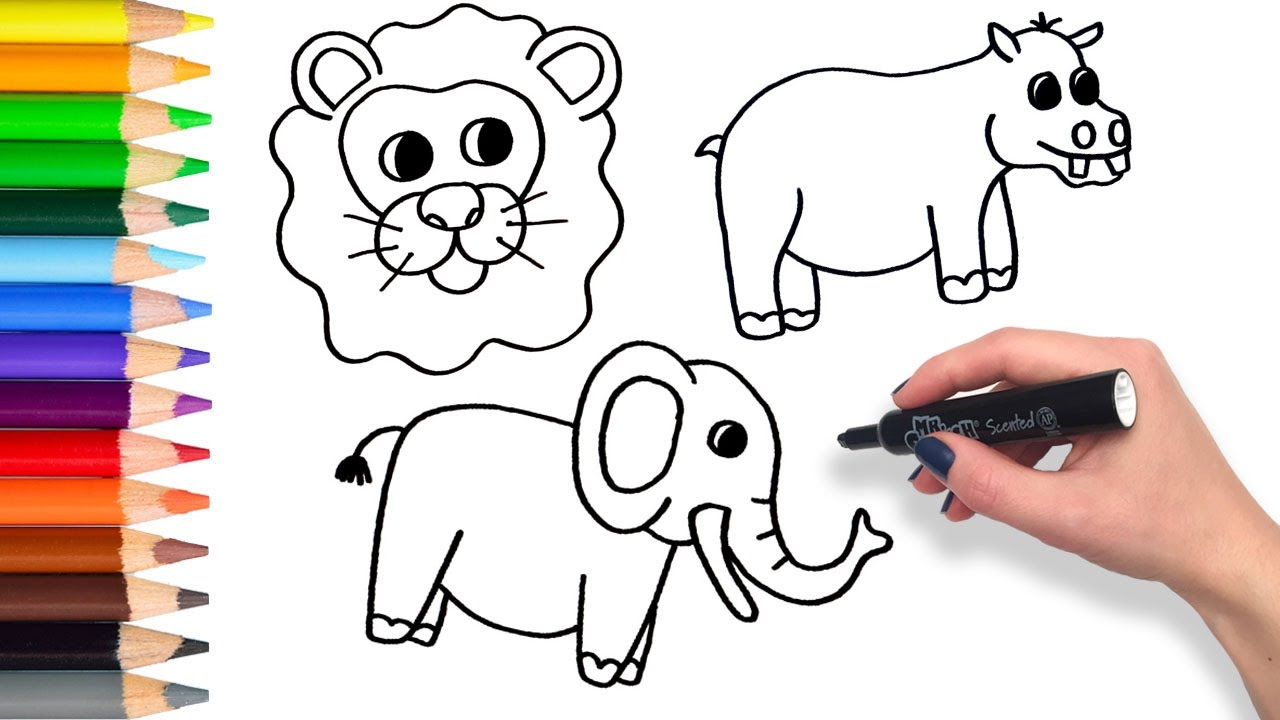 1280x720 Learn To Draw Safari Animals Compilation Teach Drawing For Kids